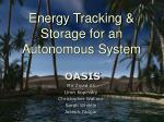 Energy Tracking & Storage for an Autonomous System