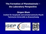 The Formation of Planetesimals – the Laboratory Perspective