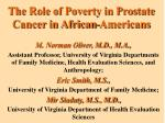 The Role of Poverty in Prostate Cancer in African-Americans