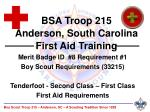 Merit Badge ID #8 Requirement #1 Boy Scout Requirements (33215) Tenderfoot - Second Class – First Class First Aid Requ