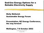 End-Use Energy Options for a Reliable Electricity Supply