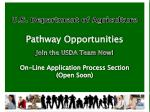 U.S. Department of Agriculture Pathway  Opportunities Join the USDA Team Now!  On-Line Application Process Section (Open
