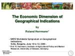 The Economic Dimension of Geographical Indications