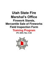 Utah State Fire Marshal's Office Firework Stands, Mercantile Sale of Fireworks Field Inspection Form Training Program IF
