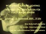 WORLDWIDE CANDLE LIGHTING WELTWEIT LEUCHTEN KERZEN FÜR VERSTORBENE KINDER Sonntag, 13. Dezember 2009, 19 Uhr Eine Bo