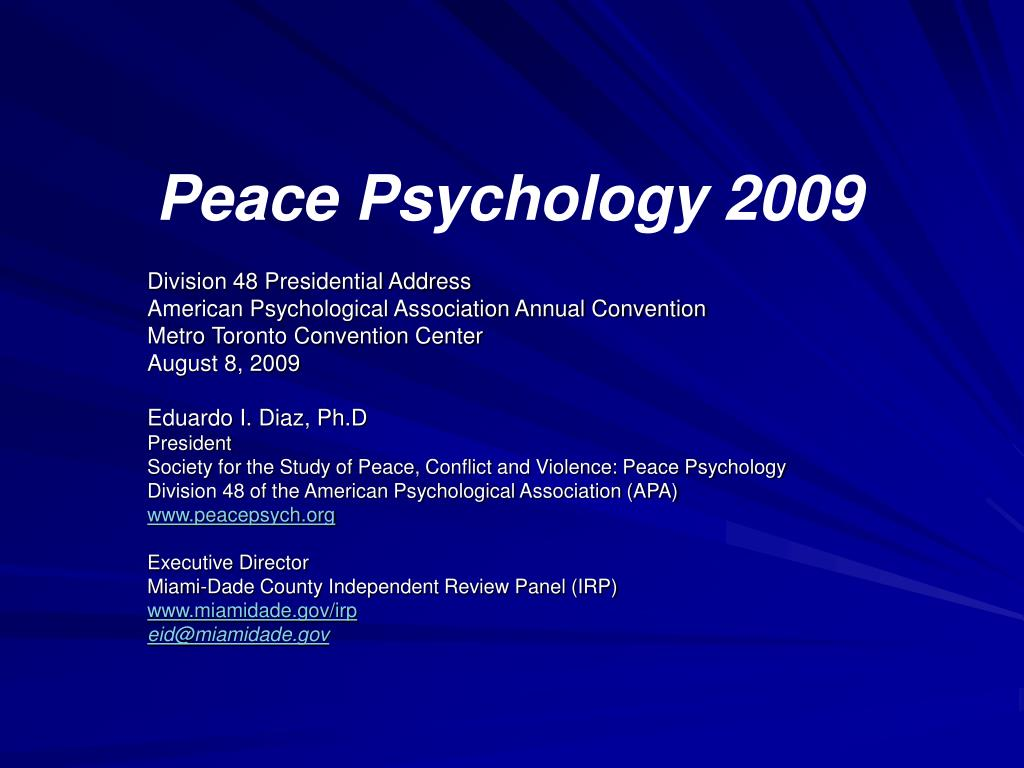 peace psychology 2009 l.