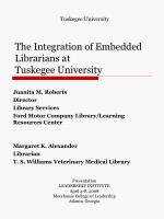 The Integration of Embedded Librarians at  Tuskegee University
