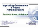 Improving Governance & Public Administration: Frontier Areas of Reform