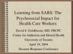 Psychosocial Impact for Health Care Workers