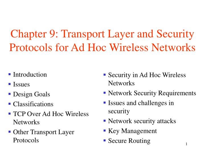 chapter 9 transport layer and security protocols for ad hoc wireless networks n.