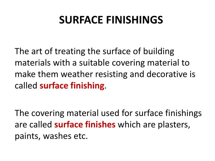 surface finishings n.