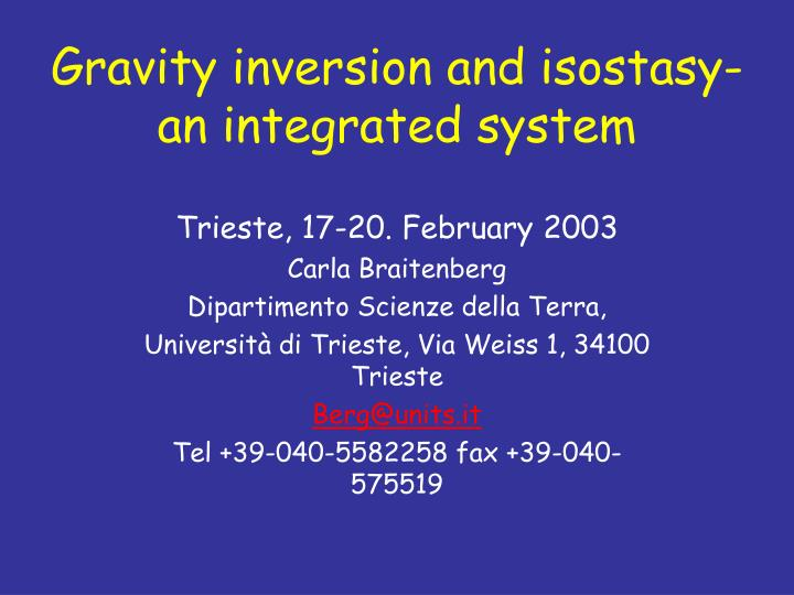 gravity inversion and isostasy an integrated system n.