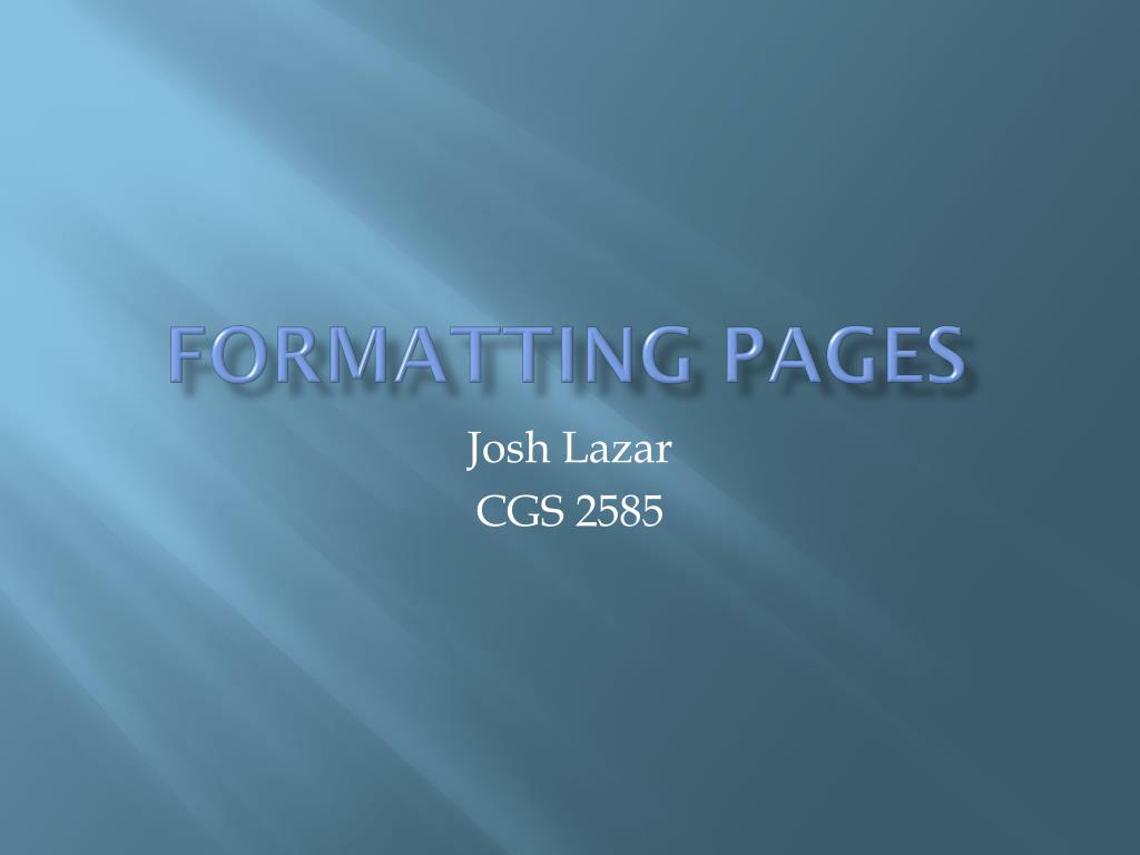 formatting pages l.