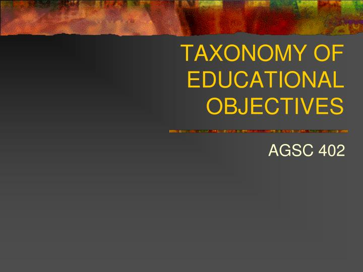 taxonomy of educational objectives n.
