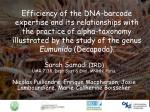 Efficiency of the DNA-barcode expertise and its relationships with the practice of alpha-taxonomy illustrated by the stu