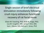 Single session of brief electrical stimulation immediately following crush injury enhances functional recovery of rat fa