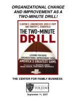 ORGANIZATIONAL CHANGE AND IMPROVEMENT AS A TWO-MINUTE DRILL!