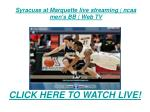 Syracuse at Marquette live streaming | ncaa mens BB | web tv