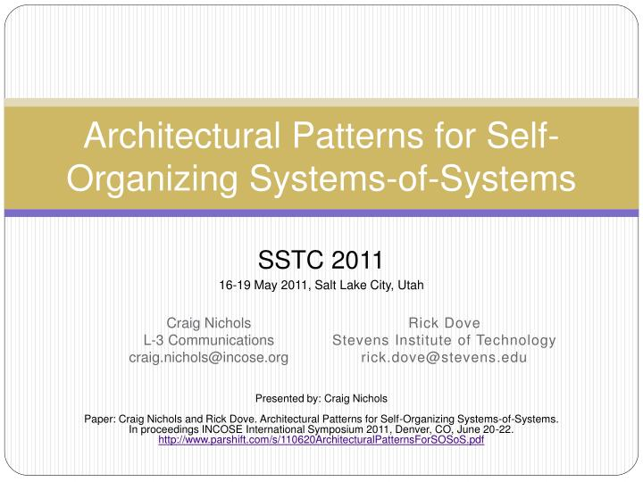 architectural patterns for self organizing systems of systems n.