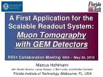 A First Application for the Scalable Readout System: Muon Tomography with GEM Detectors RD51 Collaboration Meeting WG5