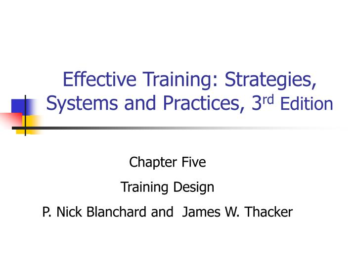 effective training strategies systems and practices 3 rd edition n.