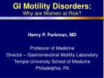 GI Motility Disorders: Why are Women at Risk?