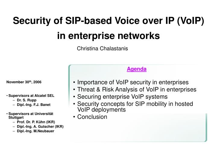 security of sip based voice over ip voip in enterprise networks n.