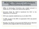 Michigan Department of Corrections Office of Community Corrections