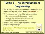 Turing 1:  An Introduction to Programming