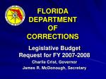 FLORIDA DEPARTMENT OF CORRECTIONS