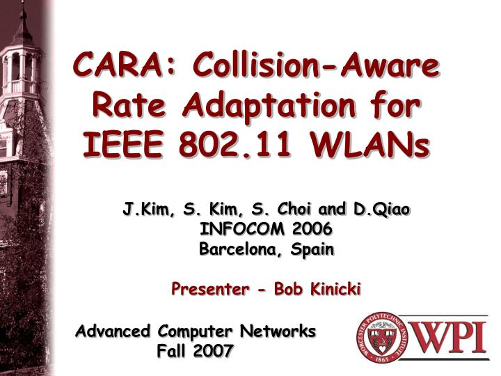 cara collision aware rate adaptation for ieee 802 11 wlans n.