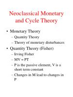 Neoclassical Monetary and Cycle Theory