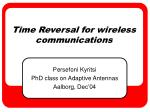 Time Reversal for wireless communications