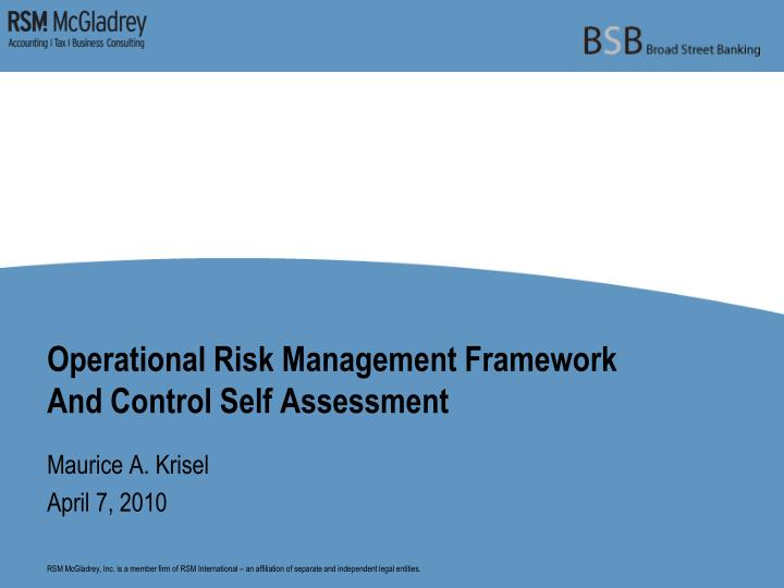 operational risk management framework and control self assessment n.
