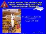 Vacuum Assisted Tools and Glove Bags Reduce Chromium VI Exposure During Aircraft Corrosion Control Work