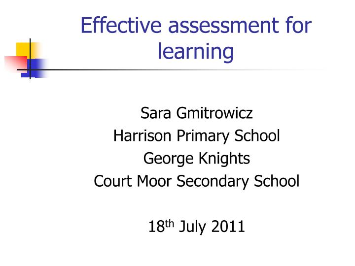 effective assessment for learning n.