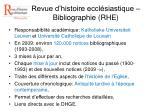 Revue d'histoire ecclésiastique – Bibliographie (RHE)