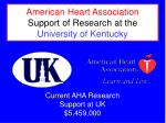 American Heart Association Support of Research at the University of Kentucky