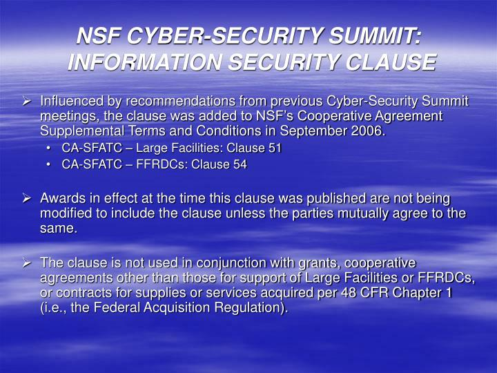 PPT - NSF CYBER-SECURITY SUMMIT: INFORMATION SECURITY CLAUSE