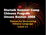 Startalk Summer Camp Chinese Program Umass Boston- 2008