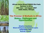African Union/Brazil/UNIDO Bio-Fuels Seminar in Africa 30th July – 1st August 2007 Addis Ababa, Ethiopia