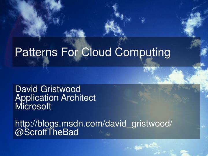 patterns for cloud computing n.