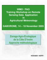WMO / FAO Training Workshop on Remote Sensing Data Application in Agricultural Meteorology GABORONE, 14 – 18 Novembe