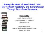 Making the Most of Read Aloud Time: How to Boost Vocabulary and Comprehension Through Text-Based Discourse