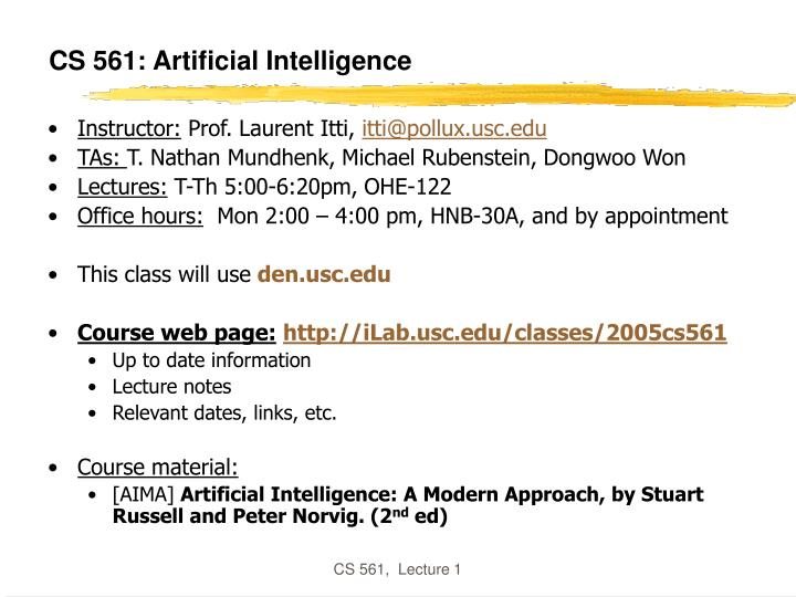cs 561 artificial intelligence n.