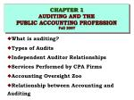 CHAPTER 1 AUDITING AND THE PUBLIC ACCOUNTING PROFESSION Fall 2007
