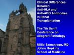 Clinical Differences Between Anti-HLA and Anti-ABO Antibodies In Renal Transplantation The 7th Banff Conference on