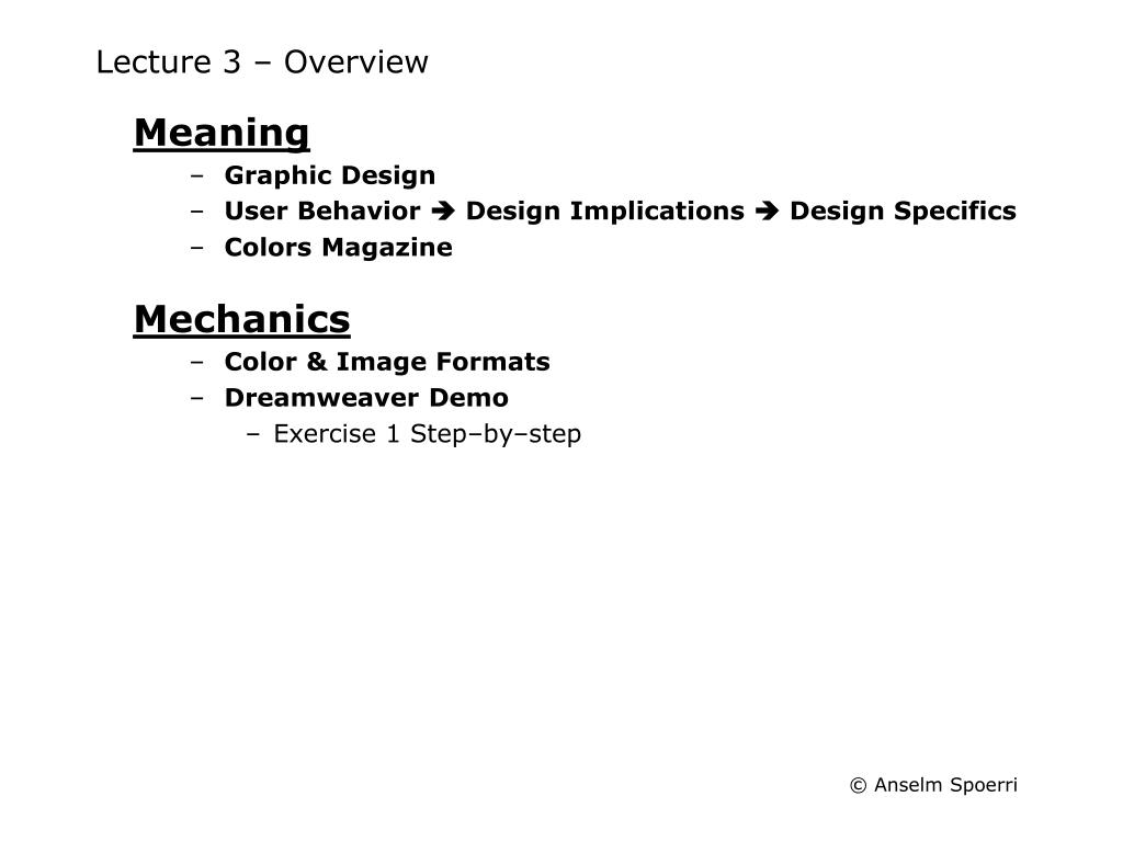 lecture 3 overview l.
