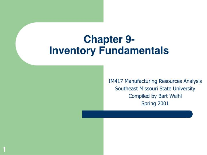 chapter 9 inventory fundamentals n.
