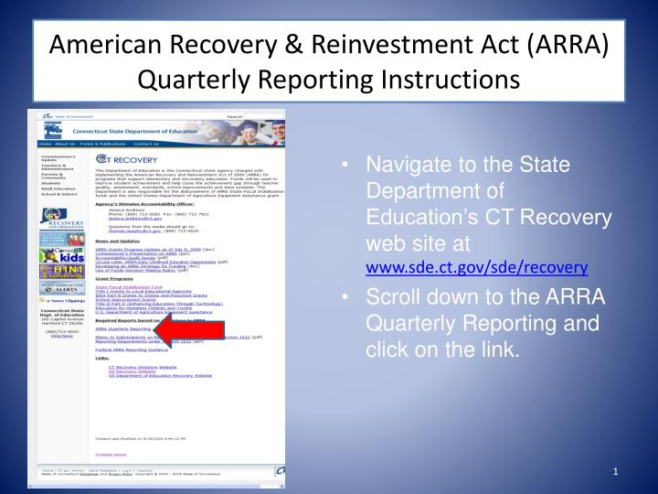 american recovery reinvestment act arra quarterly reporting instructions n.